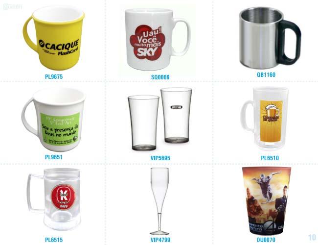 canecas, copos e taças