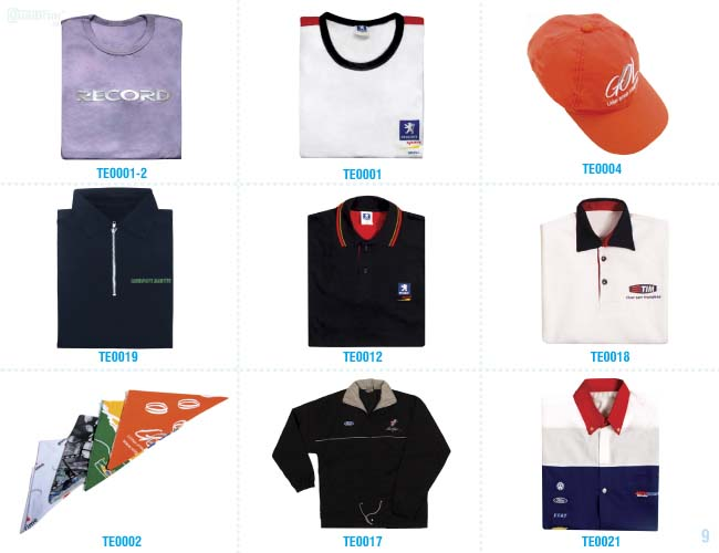 camisas, uniformes e outros têxteis